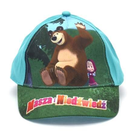 Czapka z daszkiem dziecięca Masza i Niedźwiedź Zielona