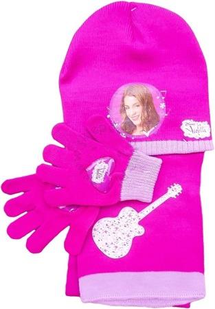 Komplet dla dzieci- czapka, szalik i rękawiczki z postaciami z filmu Violetta